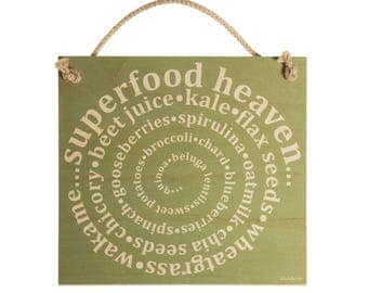 Wooden Sign 'Superfood Heaven'- Gift For Foodie, Gift For Her, Gift For Him, Original Gift, Wall Hanging, Made In UK