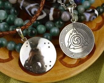 Melong small. Handmade Buddhist pendant. Melong mirror. Tibetan buddhism. Dzogchen. Tantric.  Shaman Mirror. Shamanic mirror. Shaman pendant
