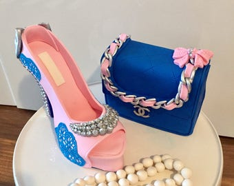 Sugar gumpaste fondant set high heel shoe purse and chanel necklace cake topper