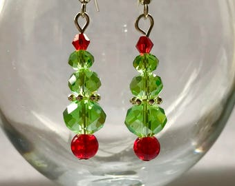 Christmas Tree Earrings, Christmas Earrings, Glass Bead Earrings, Green Earrings, Stocking Filler, Christmas Gift, Party Earrings