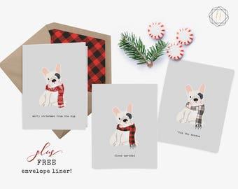 French Bulldog, White Frenchie, French Bulldog Card, French Bulldog Christmas, French Bulldog Print, Dog Lover Gift, Frenchie Christmas Card