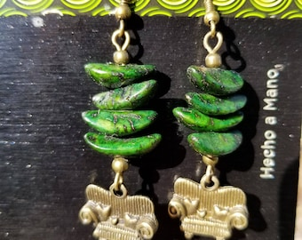 Couch Tour, Dangle Earrings, Green, Wood, Antique Bronze, Sofa