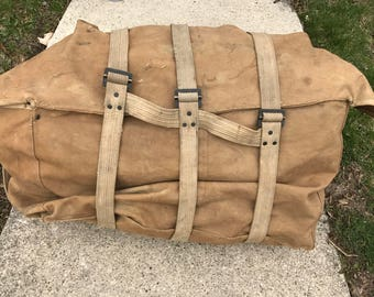 Vintage US Cavalry Pannier Canvas Pack WWI/WWII
