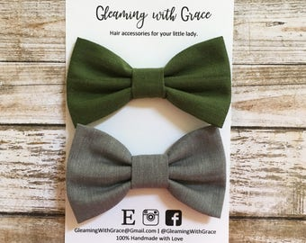 Olive Green Hair Bow, Olive Headband, Hunter Green Hair Bow, Gray Headband, Sailor Bow, Mini Hair Bow, Piggy Clips, Pigtail Bows, Hair Bow