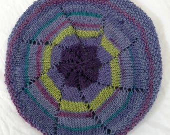 Babies Hand Knitted Beret Purple Rainbow