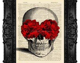 Skull Art Print, Skull Dictionary Art Print, Skull Art,  Calavera Catrina, Dictionary Art Print on Vintage Upcycled Antique Book Page 27