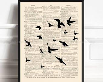 Birds Flying Flock, Edgar Allan Poe, Flock Of Bird Poster, Gothic Bird Print, Allan Poe Nevermore, Xmas Print Gift, Birds Kitchen Decor, 202