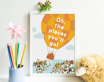 SALE. Oh, the places you'll go! Great trip in balloon over Earth planet. Nursery decor. Nursery graphic. Printable and instant downloadable.