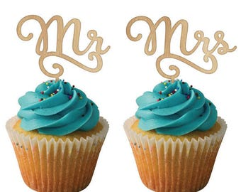 Mr & Mrs Cupcake Toppers