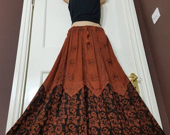 Long Rayon Embroidered Batik Boho Hippy Gypsy Elasticated Waist Various Colors drawstring Skirt Plus size and One size 14 16 18 20