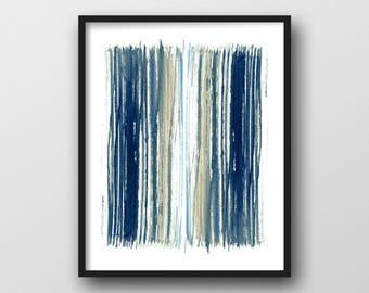 Geometric Art, Indigo Blue & Beige Stripes Print, Abstract Art, Fine Art Print, Abstract Watercolor, Scandinavian Print, Minimalist Poster