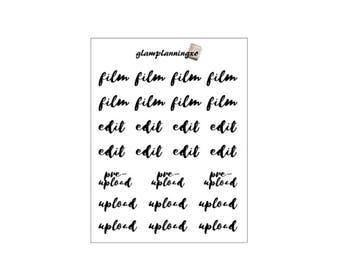 Functional - Film, edit, upload - planner stickers