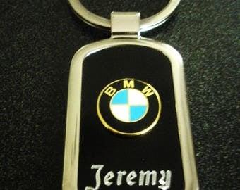 BMW Onyx & Silver Keychain-Free Engraving