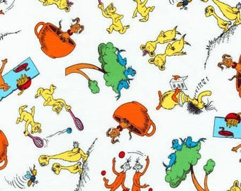 Dr Seuss Hop on Pop Bright Fabric from Robert Kaufman quilting cotton fabric white