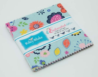 """Riley Blake Enchanted 5"""" Stackers (charm pack) by Dodi Poulsen (42 pcs) 5-5680-42 blue green floral purple cotton precut quilting fabric"""