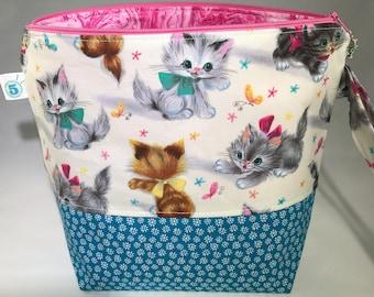 Kitten Knitting Crochet Craft Zippered Project Bag