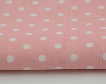 Fabric 100% cotton a half metre 50 x 160 cm, 100% polka dots cotton white 7mm on coral background