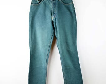 FREE SHIPPING Vintage green jeans, high waist jeans, mom jeans, high rise jeans, grunge jeans, 90s clothing, grunge clothing