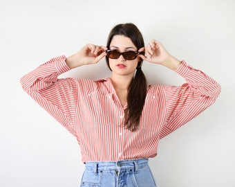 Vintage striped shirt, red striped blouse, oversized blouse, medium size, minimalist blouse