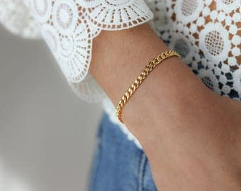 Gold Chain Bracelet - Stacking Bracelet - Delicate Jewelry - Minimalist Jewelry - Simple Bracelet - Delicate Gold Bracelet - Gift for Her