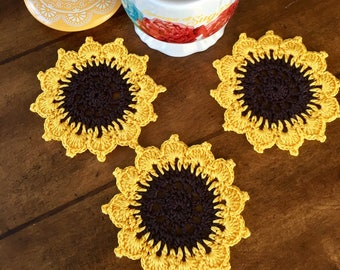 Sunflower Coasters - Set of 6 - Crochet Coasters - Drink Coasters - Doily Coaster - Bridal Shower Gift - Vintage Home Decor - Floral Coaster