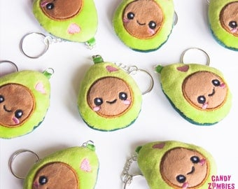 Kawaii Avocado keychain * Plush Minky Fabric * Embroidered Embroidery * Green Brown
