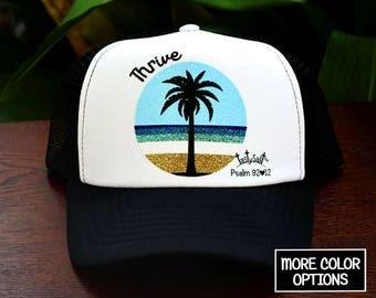 Thrive Palm Tree Island Trucker Hat / Christian hat, Christian apparel, women's hat, women's trucker hat, Christian trucker hat, beach, sun