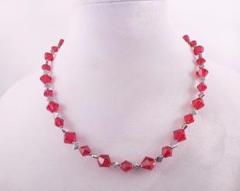 Carnelian Red and Silver tone Necklace, Earrings & Bracelet
