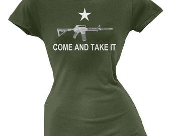 AR-15 Come And Take It Military Green Juniors T-Shirt