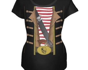 Halloween Pirate Costume Black Maternity Soft T-Shirt