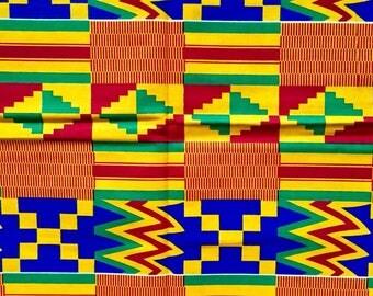 """African Ankara - Marigold, Red, Blue """"Emperor's Kente"""" Head-wrap... Head-scarf"""