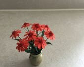 Dolls House Flowers 112th scale pot plant Dolls House Furniture Red Dolls House Flowers