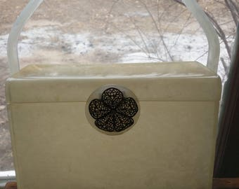 Beautiful off white Lucite Box Purse
