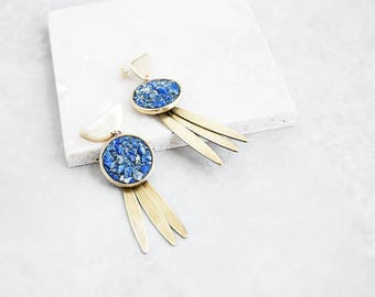Boho Druzy Earrings —  Lapis Lazuli | raw stone earrings | blue tribal earrings | festival jewelry | long tribal big summer ethnic earrings