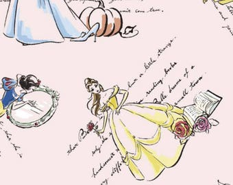 "Disney Princess Cotton Fabric 43"" - Disney Princess Watercolor Fabric  - Cinderella, Belle, Snow White"