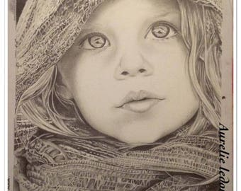Portrait of girl with scarf in graphite pencil