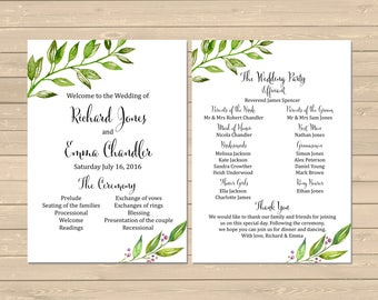 Botanical Wedding Program, Printable Greenery Boho Wedding Program, Foliage Order of Service, Printable Order of the Ceremony Download 105-A