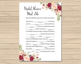 Burgundy Boho Bridal Shower Mad Libs Printable Activity, Marsala Floral Mad Libs Activity, Boho Peonies DIY Game, Instant Download, 120-W