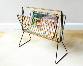 Vintage magazine rack, black metal/ rattan, news rack string area, original 60s canterburry, midcentury