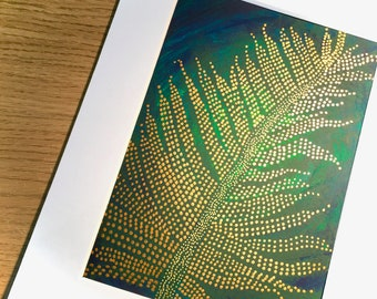 """Original artwork in mount and ready to frame, Golden Fern, mixed media acrylic painting, conservatory decor, mount size 9x7"""", garden lover"""