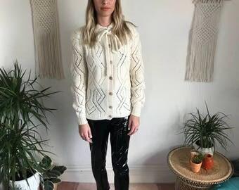 Cream vintage aran cardigan