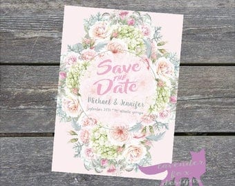 Blush Hydrangea Save the Date DIGITAL