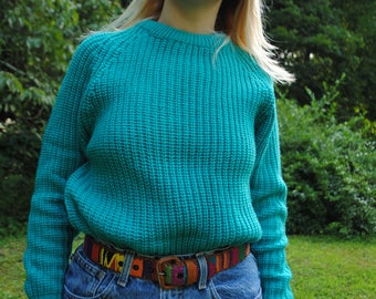 Vintage Sweater, 90's Vintage, Bright Green, Turquoise, Teal, Aqua Green, Headliners, Vintage Clothing, Pullover, Chunky Knit, Medium