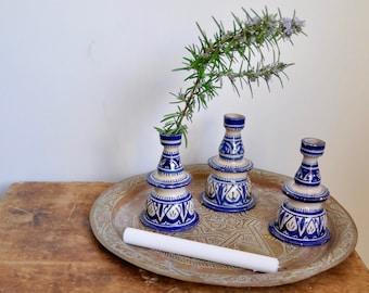 Moroccan Candle Holders, Blue & White Ceramic Morocco Candle Sticks, Bohemian Decor, Boho Decoration, Vintage Candlesticks, Ethnic Style