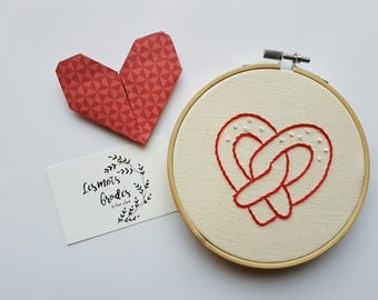"""A love of pretzel"" embroidery on embroidery hoop"