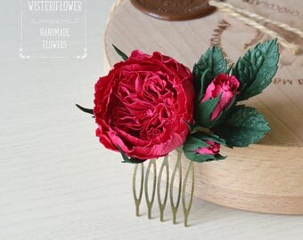 Deep pink rose Roses Hair Comb Hair accessories Boho Wedding Vintage style Rose Wedding hair comb Burgundy Flower comb Nature Gift for her