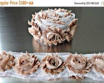 30% OFF LATTE Chiffon Flowers 1/2 Yard or 1 Yard Shabby Flower Trim Frayed Flowers Chic Rosettes Rosette Trim Flowers Shabby Rose Flowers 2.