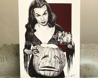 Vampria, Original Art, Old Hollywood, Vintage, Halloween, Jack-0 Lantern, Pinup Girl