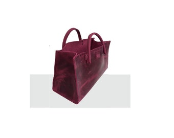"""Leather bag funny-easter egg bag shopping bag small """"transporter"""" used look leather handmade"""