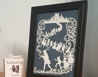 SPECIAL OFFER 25 % OFF - The Pied Piper of Hamelin Papercut framed gift present wall art home decor storybook christmas
